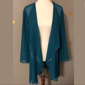 Onyx Nite Plus Size Flowy Kimono Turquoise